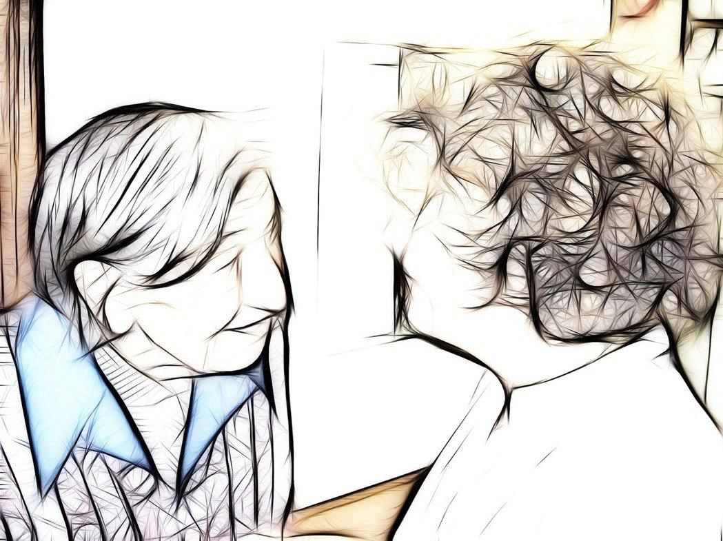 失智症患者(左)與護理人員(右)示意圖。圖/pixabay