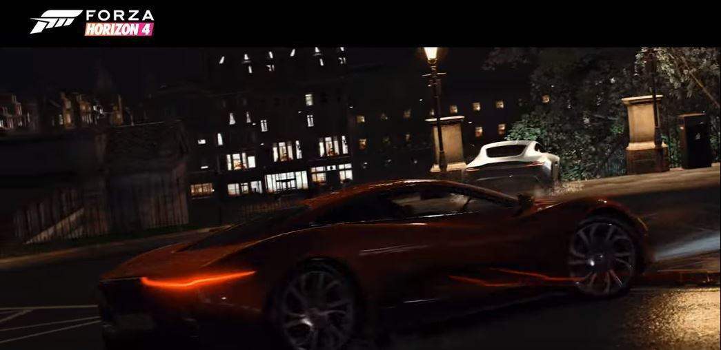 007惡魔四伏裡DB10和Jaguar C-X75的追逐戲碼。 摘自Forza Horizon
