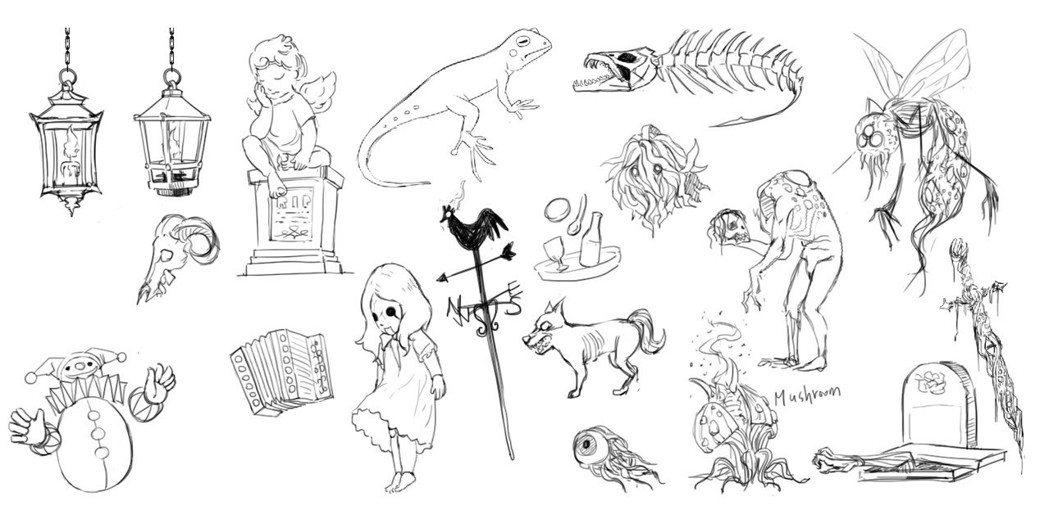 怪物和道具的草稿。