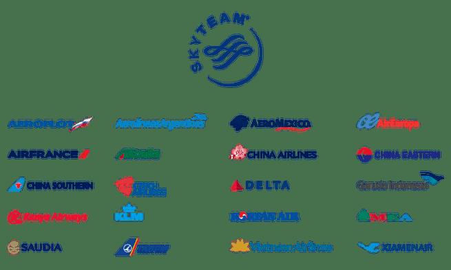 天合聯盟 (SkyTeam) 會員列表 圖文來自於:TripPlus