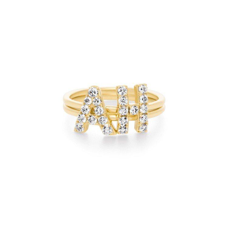 AHKAH Premietoile 系列字母戒指可自由堆疊配戴,27,500元起...