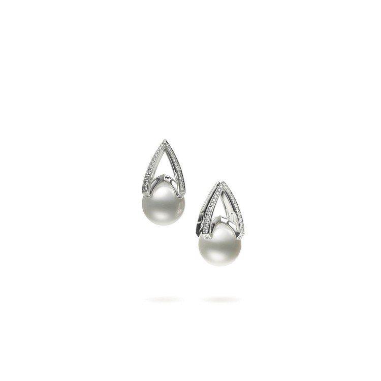 MIKIMOTO M Collection 南洋珍珠 18K 白金鑽石耳環,34...