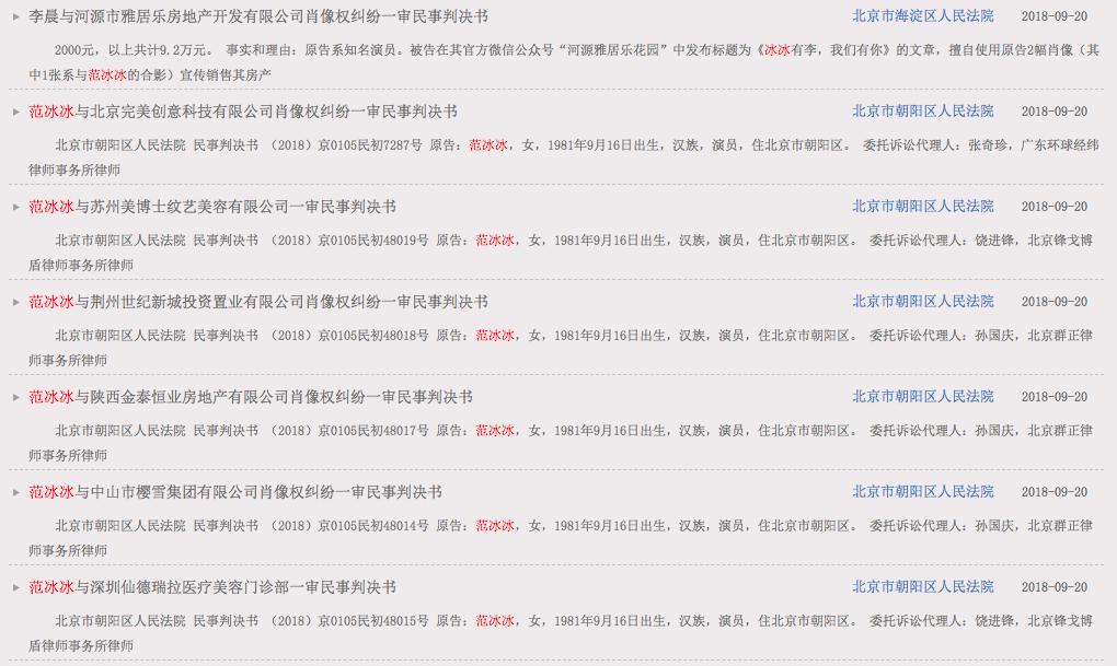 北京法院審判信息網公開以范冰冰為原告的6份一審民事判決書。圖/摘自北京法院審判信...