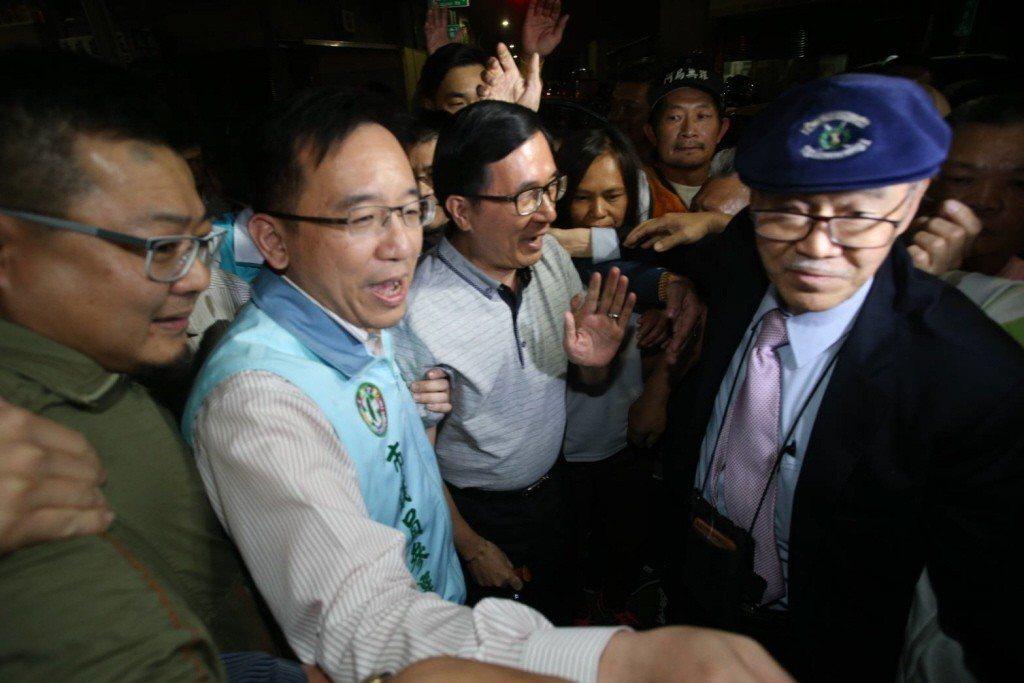 2018年3月,陳水扁為陳致中站台。 圖/聯合報系資料照片