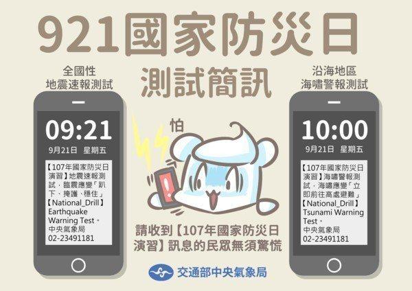 921是國家防災日,在9:21與10:00分別有地震及海嘯演習測試警報。 圖片來...