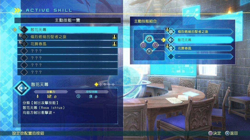 主動技能可以利用組合按鍵使出,最多可以裝備四個,分別對應手把右側的四個按鈕。