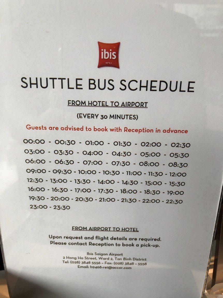 往返機場的酒店接駁巴士的時刻表 圖文來自於:TripPlus