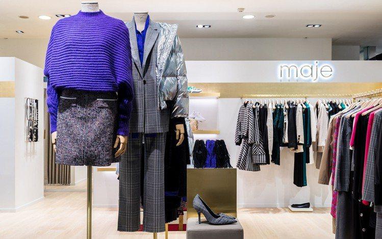 針織、格紋與未來感服裝,展現maje秋冬的多變風格。圖/maje提供