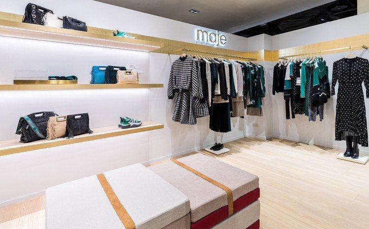 maje首度在中部拓點,陳列2018秋冬系列全新女裝。圖/maje提供