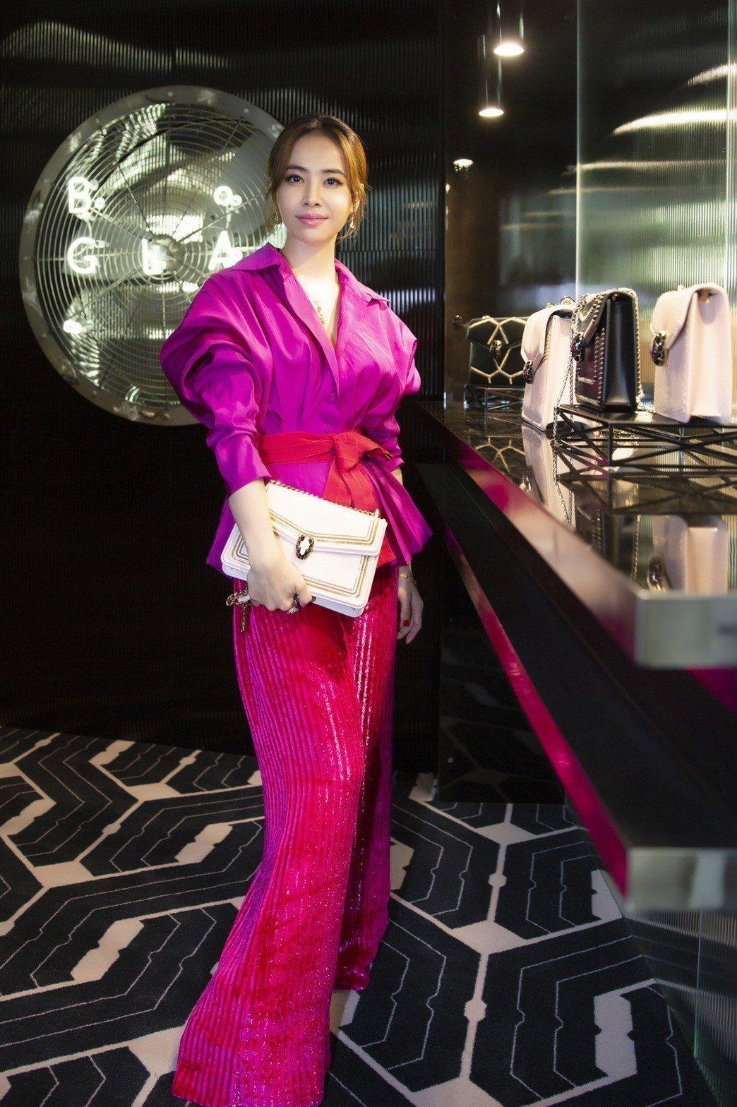 寶格麗大中華區代言人蔡依林於米蘭出席寶格麗春夏配件預覽°圖/寶格麗提供