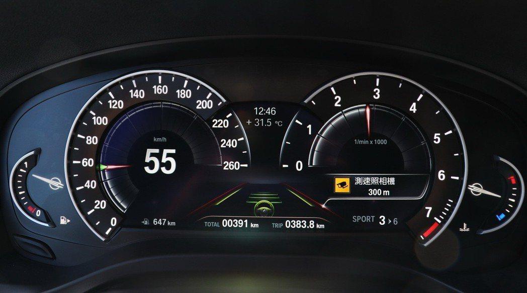 啟動半自動駕駛後,會出現綠色的方向盤圖示及兩側道路標線。 記者陳威任/攝影