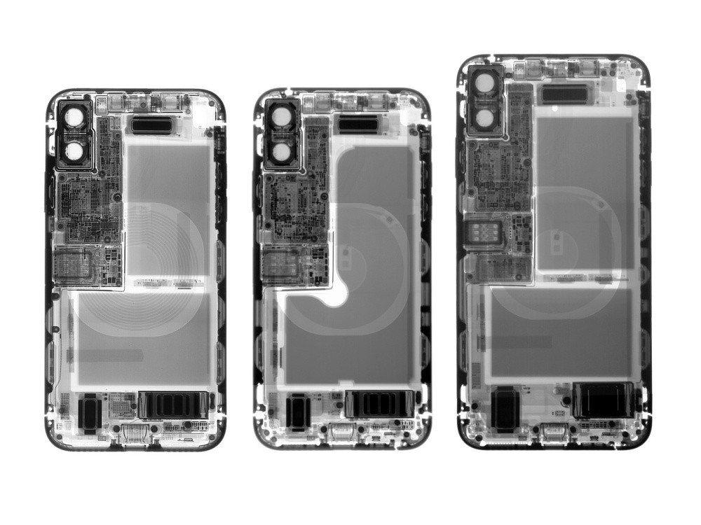 iPhone X、iPhone XS、iPhone XS Max透過X光拍攝檢視...