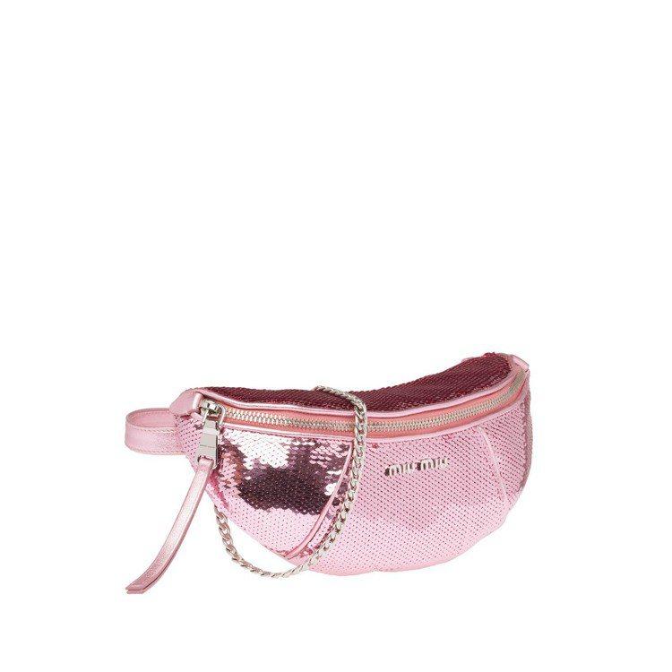 粉色亮片腰包,37,000元。圖/MIU MIU提供