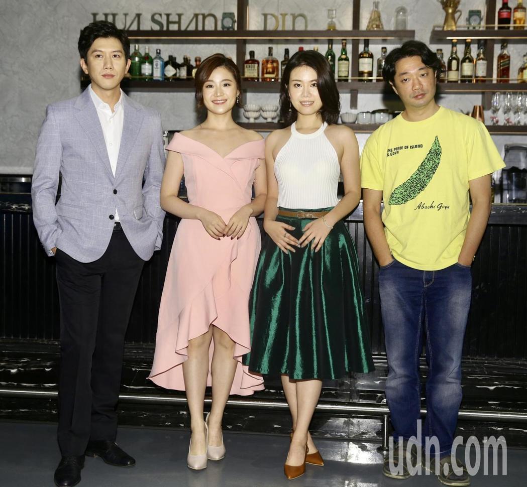 莫子儀(左起)、楊小黎、彭若萱、導演樓一安為「台北歌手」入圍11項慶功。記者林伯