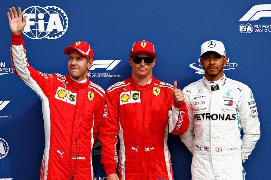 (右)Sebastian Vettel(中)Kimi Raikkonen(左)L...