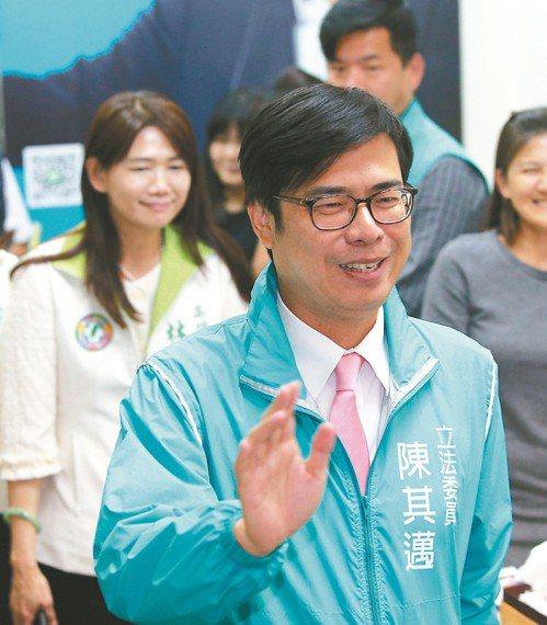 聯合報最新調查發現,陳其邁(圖)以三成四支持度,些微領先三成二的韓國瑜。 圖/聯...