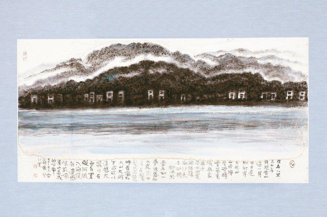 蔣勳水墨〈淡水河〉。