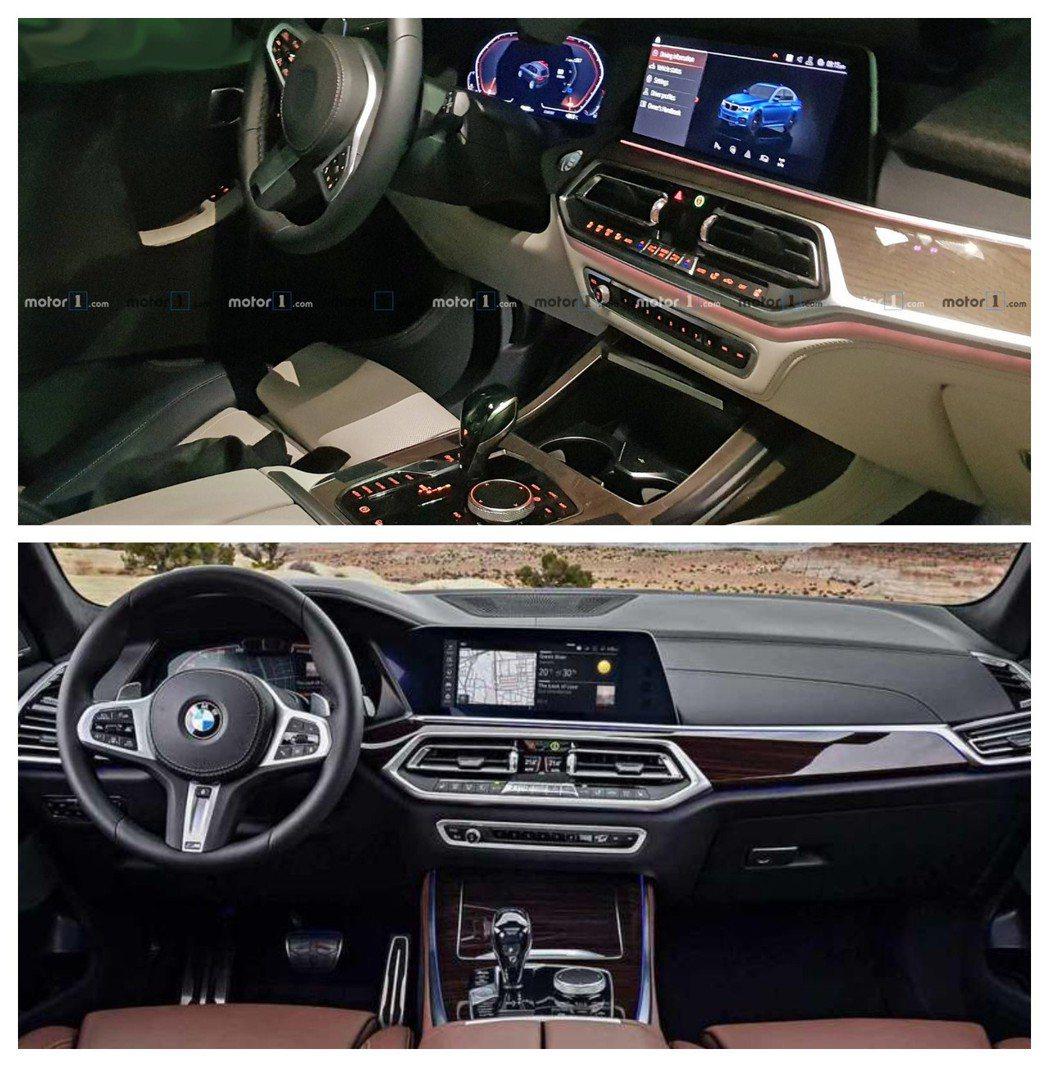 圖上為全新BMW X7無偽裝內裝照,圖下為新世代X5內裝。 摘自Motor 1、BMW