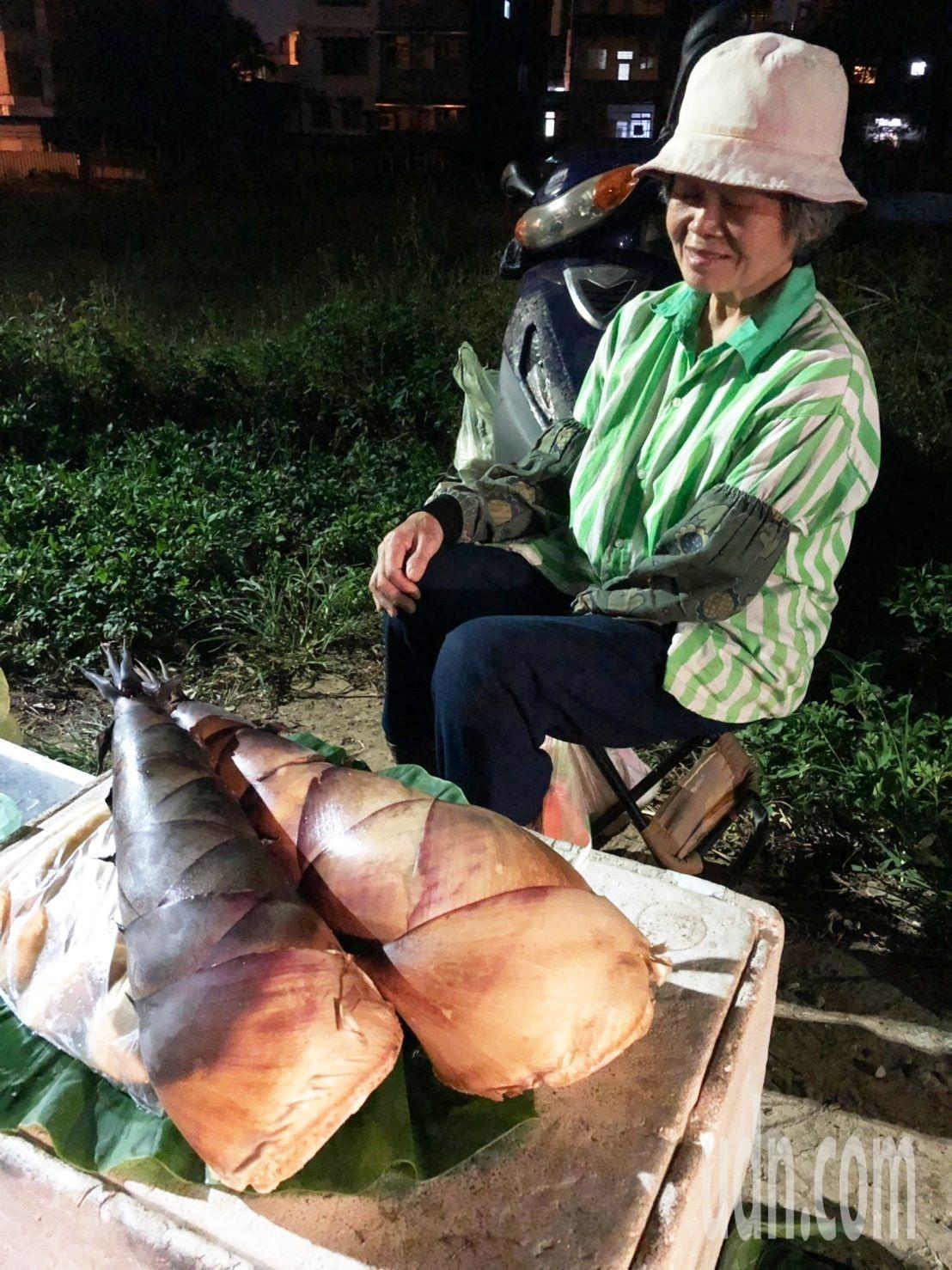 洪阿嬤每天上山挖筍,晚上擺攤賣到深夜。記者曾健祐/攝影