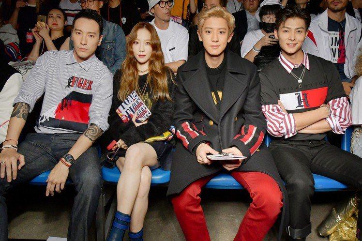 (左起)王陽明和韓國歌手太妍、朴燦烈,以及大陸藝人張銘恩都是Tommy Hilf...