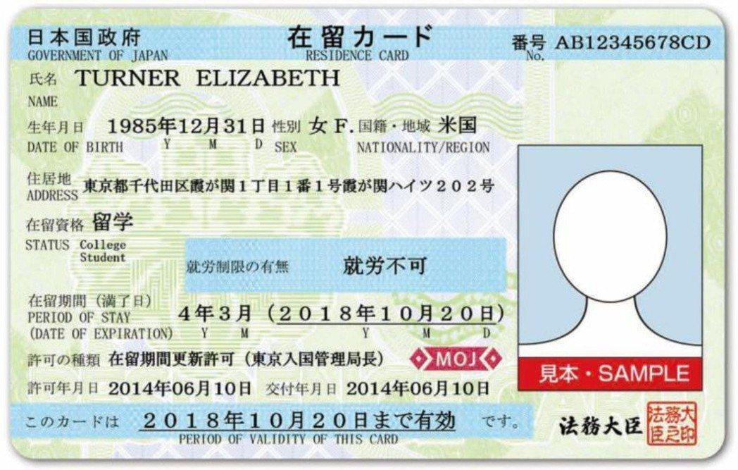 日本在留卡。圖/取自日本法務省入國管理局