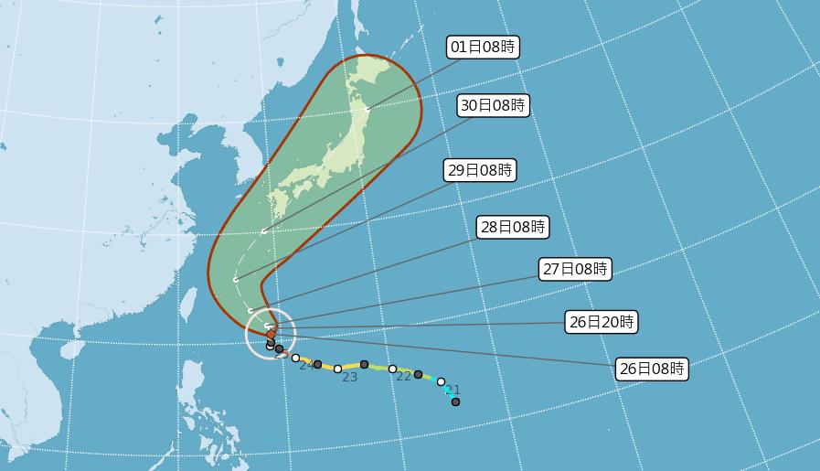 潭美颱風減弱為中颱,若依照目前預測路徑,海上颱風警報發布機率低。 圖/中央氣象局
