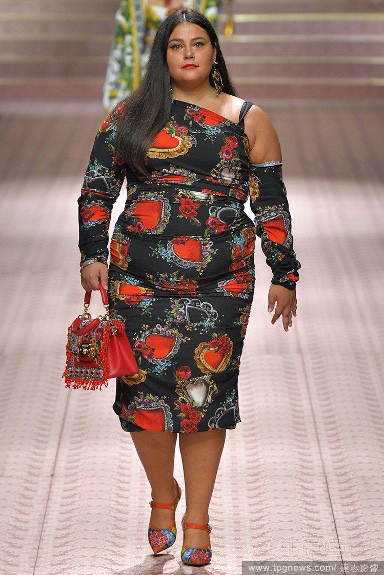 Dolce & Gabbana這季使用不少大尺碼模特兒走秀。圖/達志影像