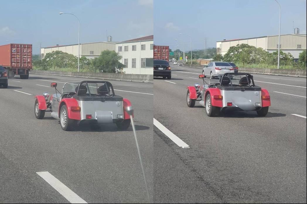 有民眾在國道上看見一台形似卡丁車的輕量跑車,質疑「這也能上高速公路?」卻有不少內行網友指出,這台不僅可以開上路,且一輛要價不斐。 圖截自臉書《爆廢公社》