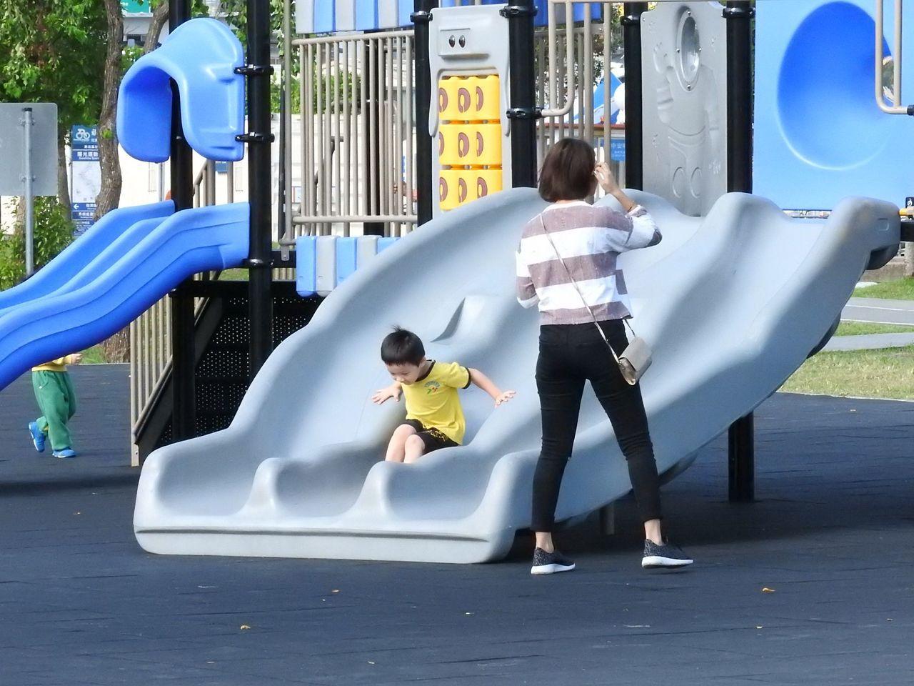 共融式遊具,日前再增林口公鄰23公園示範點。記者祁容玉/攝影