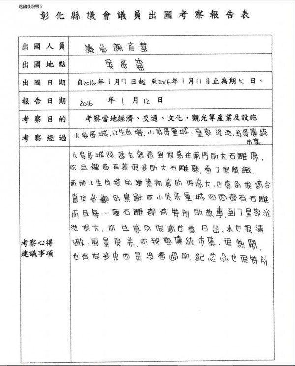謝彥慧的考察報告被網友笑是小學生校外教學心得感想。 圖片來源/PTT