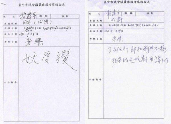 台中市議員段緯宇報告只寫三個字:「妖受讚」,讓人超級傻眼。 圖片來源/PTT
