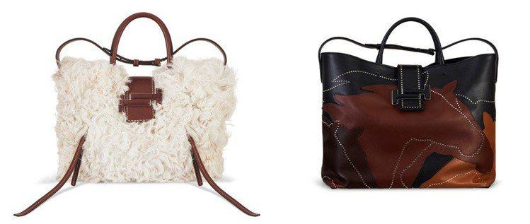 (圖左)羊毛裝飾Double T Shopping Bag。(圖右)馬匹...