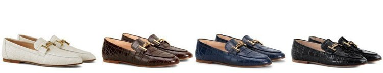 TOD'S Double T鱷魚壓紋皮革便鞋。 圖/TOD'S 提供