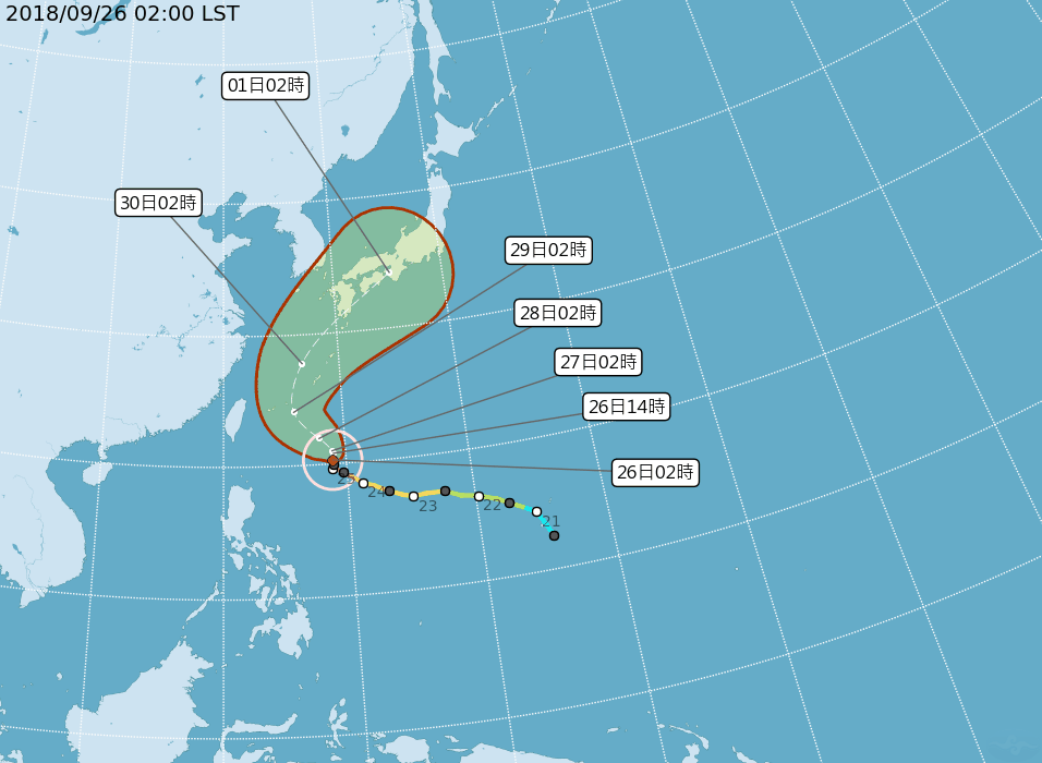 吳德榮指出,氣象局的潭美颱風路徑潛勢預測圖顯示的不確定性範圍仍偏大,所以即使潭美...