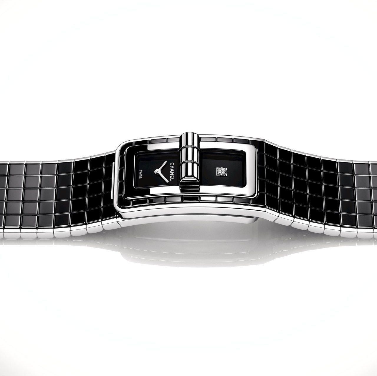 CODE COCO精鋼與黑色陶瓷腕表,黑色漆面表盤單獨鑲嵌一顆公主式切割鑽石,2...