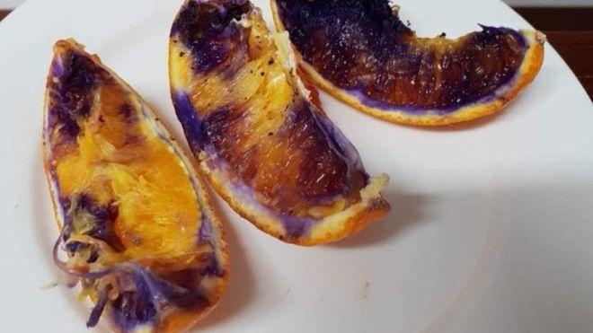 一名昆士蘭母親發現兒子吃過的柳丁竟變色,現在確定對身體無礙。Neti Moffi...