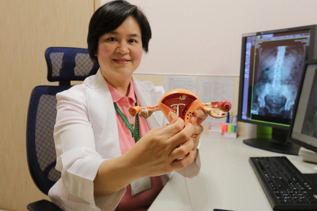 亞洲大學附屬醫院微創內視鏡科主任高惠芬指出子宮內避孕器置放位置。圖/亞洲大學附屬...