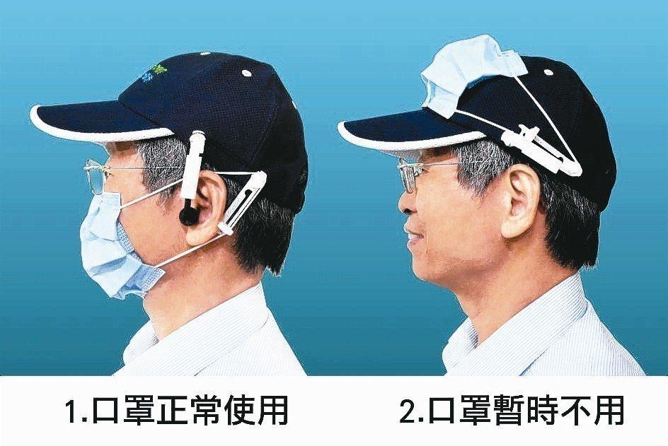鄭永柱示範使用「頭帽口罩掛帶固定器」,口罩戴戴脫脫都方便。 華新醫材/提供