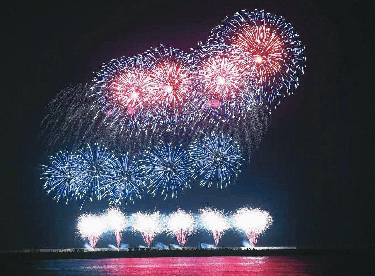 國慶焰火日前在花蓮港東防波堤進行測試釋放,光采奪目。 記者陳正興/攝影