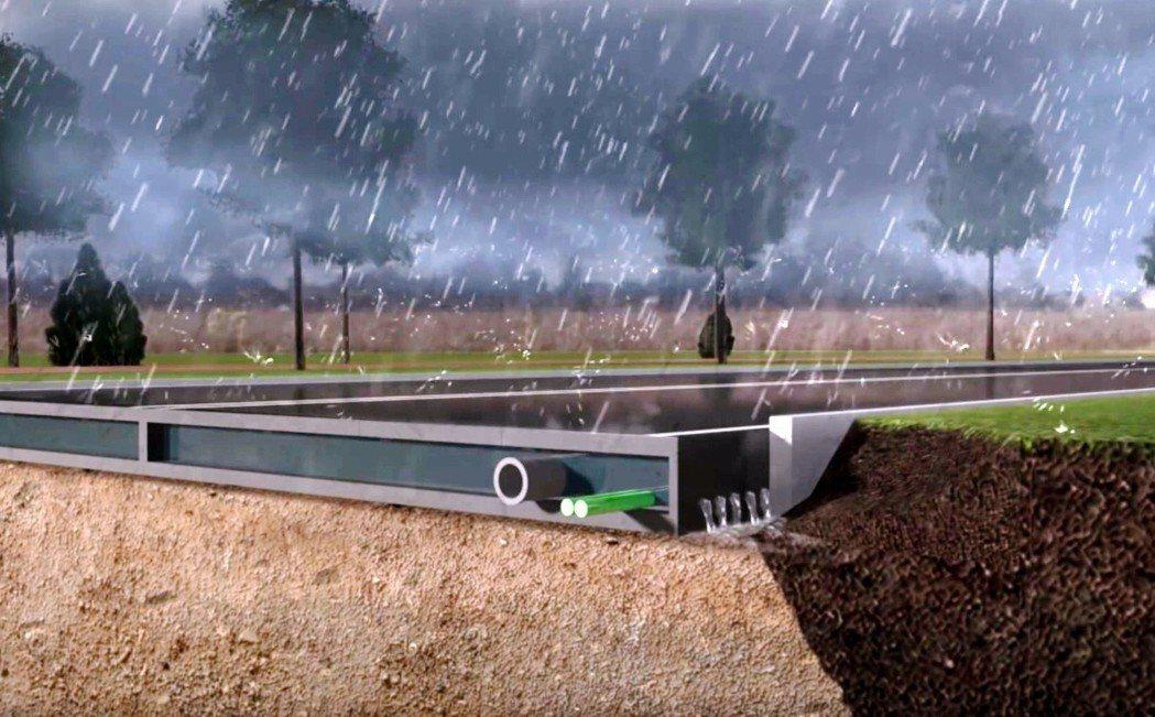 廢棄塑膠單車道的預製路段採中空設計,方便安裝電纜和管道設備,且具有排水功能。圖/...