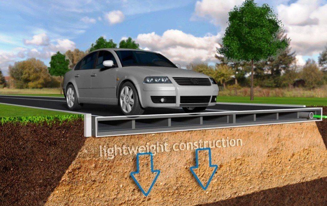 廢棄塑膠單車道重量輕、方便運送、安裝省時,且結構能減輕道路負重。圖/Plasti...