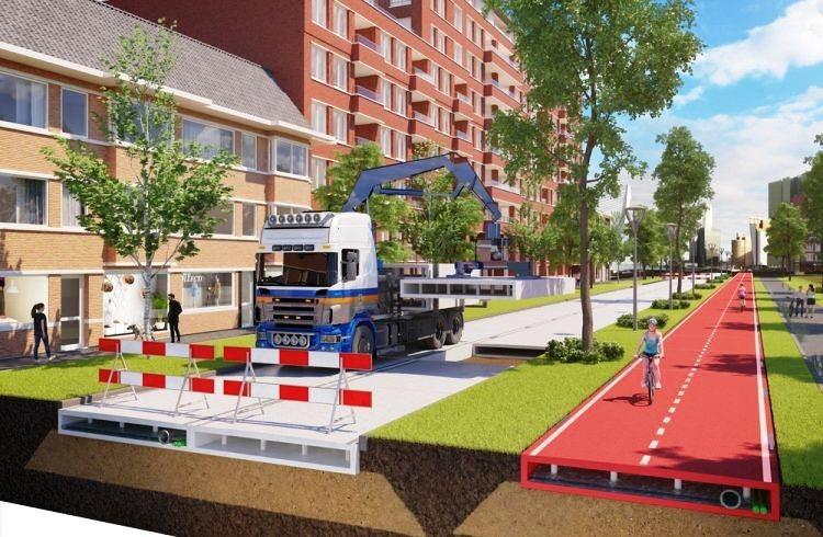 這條廢棄塑膠單車道內鋪設感應器,可監測道路性能。圖/PlasticRoad