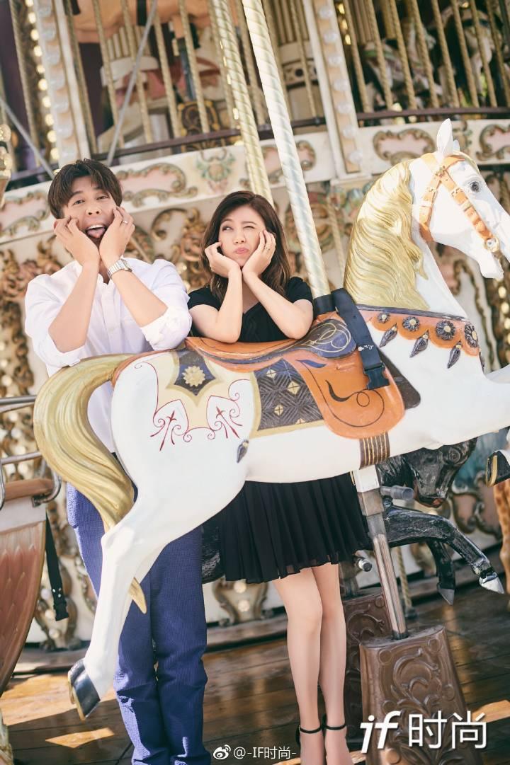 修杰楷(左)、賈靜雯巴黎街頭放閃。圖/摘自微博