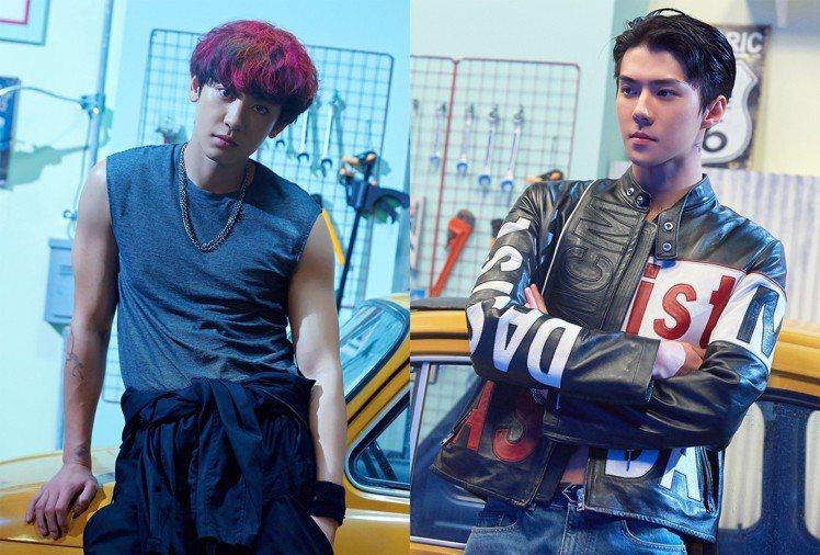 EXO吳世勳(右)在MV《We Young》詮釋MCM黑色騎士外套。圖/取自tw...