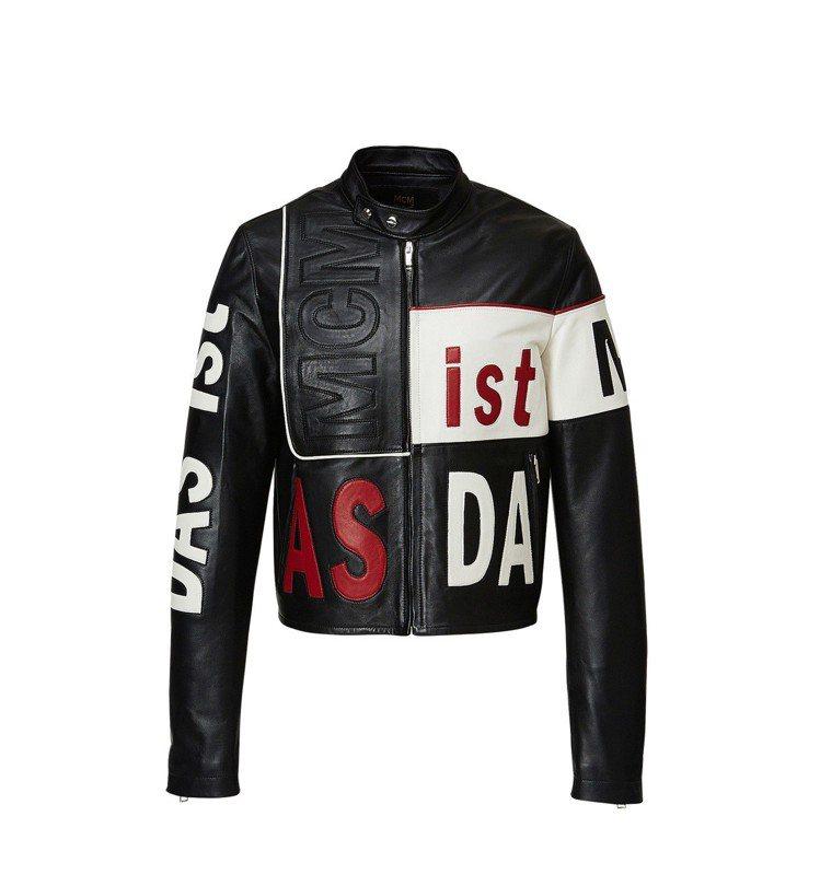 MCM黑色騎士外套,售價73,000元。圖/MCM提供