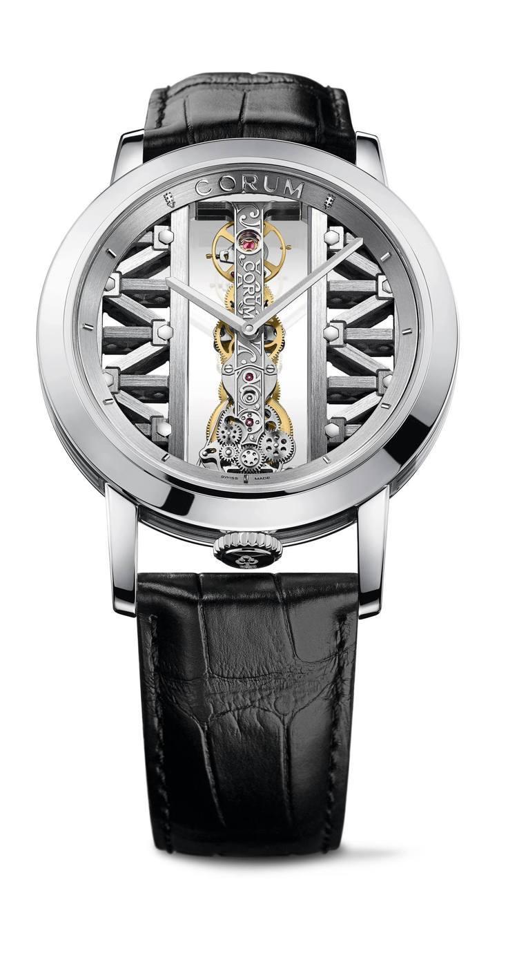胡兵於崑崙表的形象廣告中配戴43毫米白K金圓形金橋腕表,價格店洽。圖/崑崙表提供