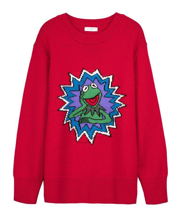 The Muppet Show X sandro科米蛙圖騰紅色針織衫,售價10,...