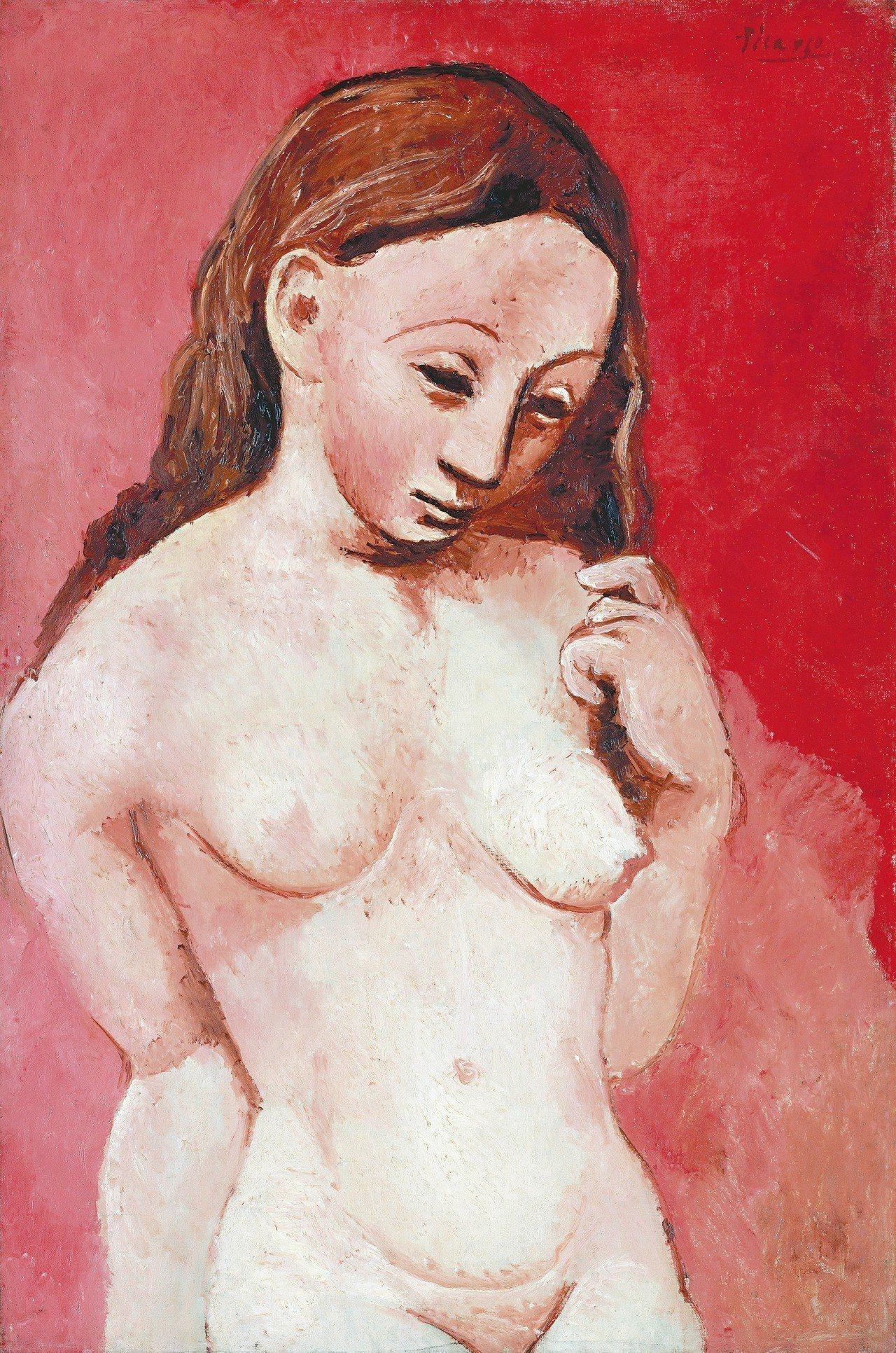畢卡索約1906年油畫作品《紅色背景裸女》,81 x 54 cm,巴黎橘園美術館...