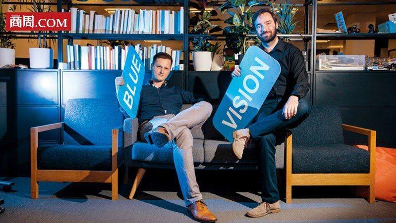 藍色視覺實驗室聯合創始人兼首席執行官:彼得.昂多斯卡(圖左)、藍色視覺實驗室聯合創始人兼技術長:盧卡斯.普拉汀斯基(圖右)(攝影者.陳宗怡)