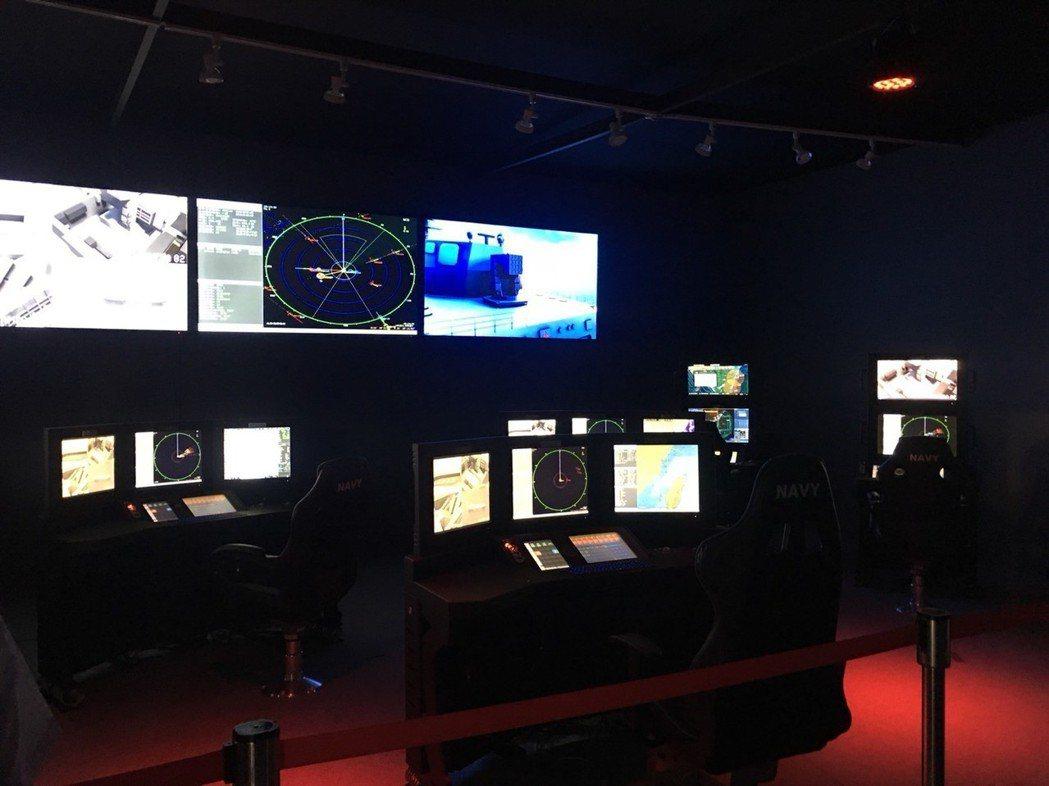 單螢幕操控台搭配中科院的二代艦仿真的作戰艦戰情室,科技感十足。 業者/提供